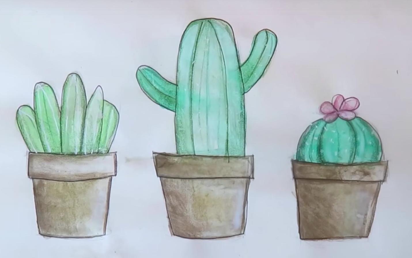 Картинки кактус в горшке срисовки